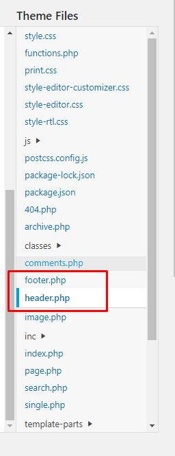 Edit your header and footer theme files